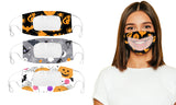 Halloween Edition  Smile Communicator Clear Mouth Face Mask (3-Pack)