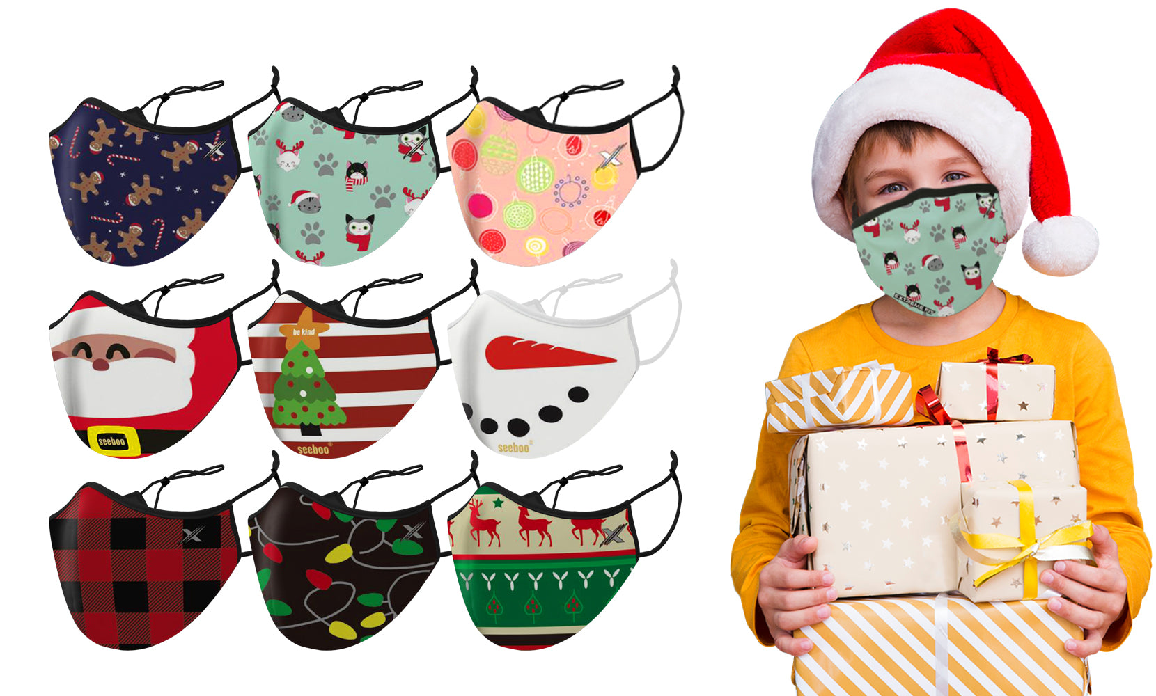 9-Pack: Christmas Themed Kids Two-Layered Reusable Face Mask With Adjustable Ear Loops