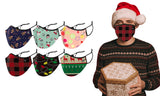 6-Pack: Christmas Cheer Adults Two-Layered  Reusable Face Mask With Adjustable Ear Loops
