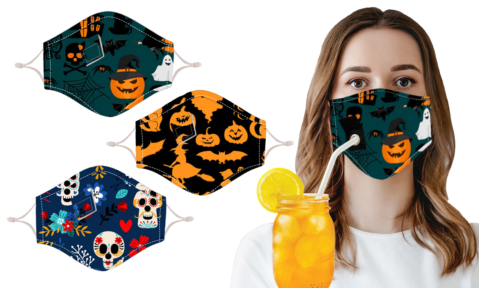 Halloween Themed Reusable Face Mask with Drinking Straw Hole (3-Pack)