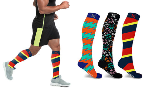 XTF Colorful and Trendy Compression Socks (3-Pairs)