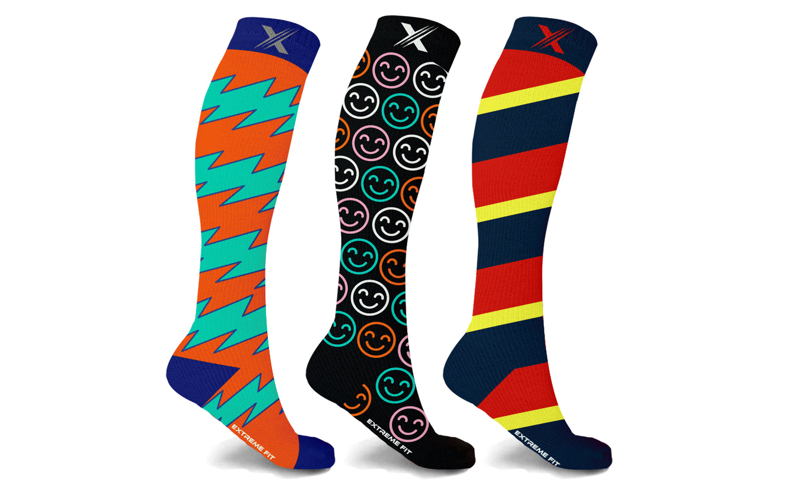 Colorful and Trendy Compression Socks (3-Pairs)