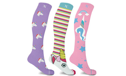 Unicorn Inspired Knee High Compression Socks (3-Pairs)