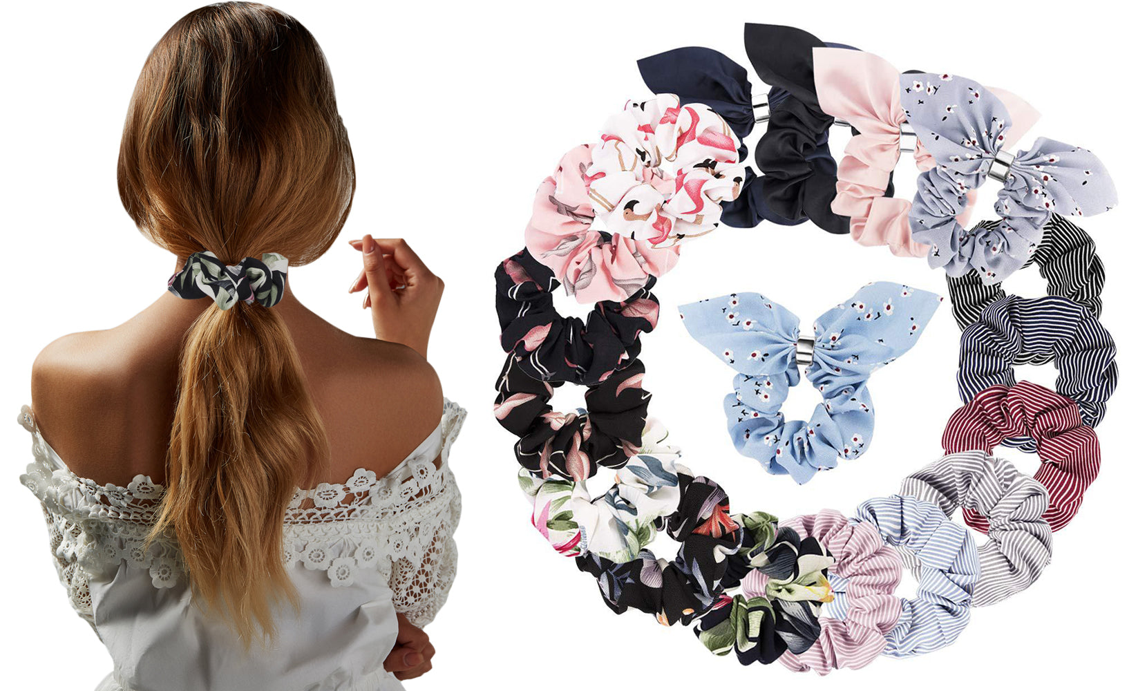 Hair Scrunchies Velvet Elastic Hair Bands Scrunchy Hair Ties (18 or 36-Pieces)