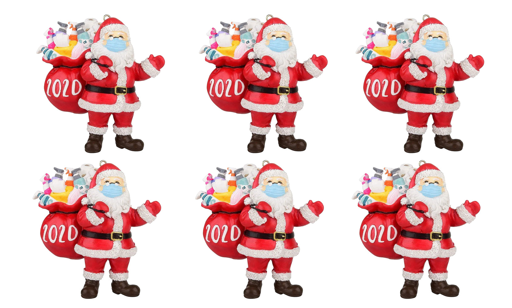 shopify-2020 Quarantine Survivor Santa Claus  Christmas Ornaments Wearing Mask and Carrying All Essentials-3
