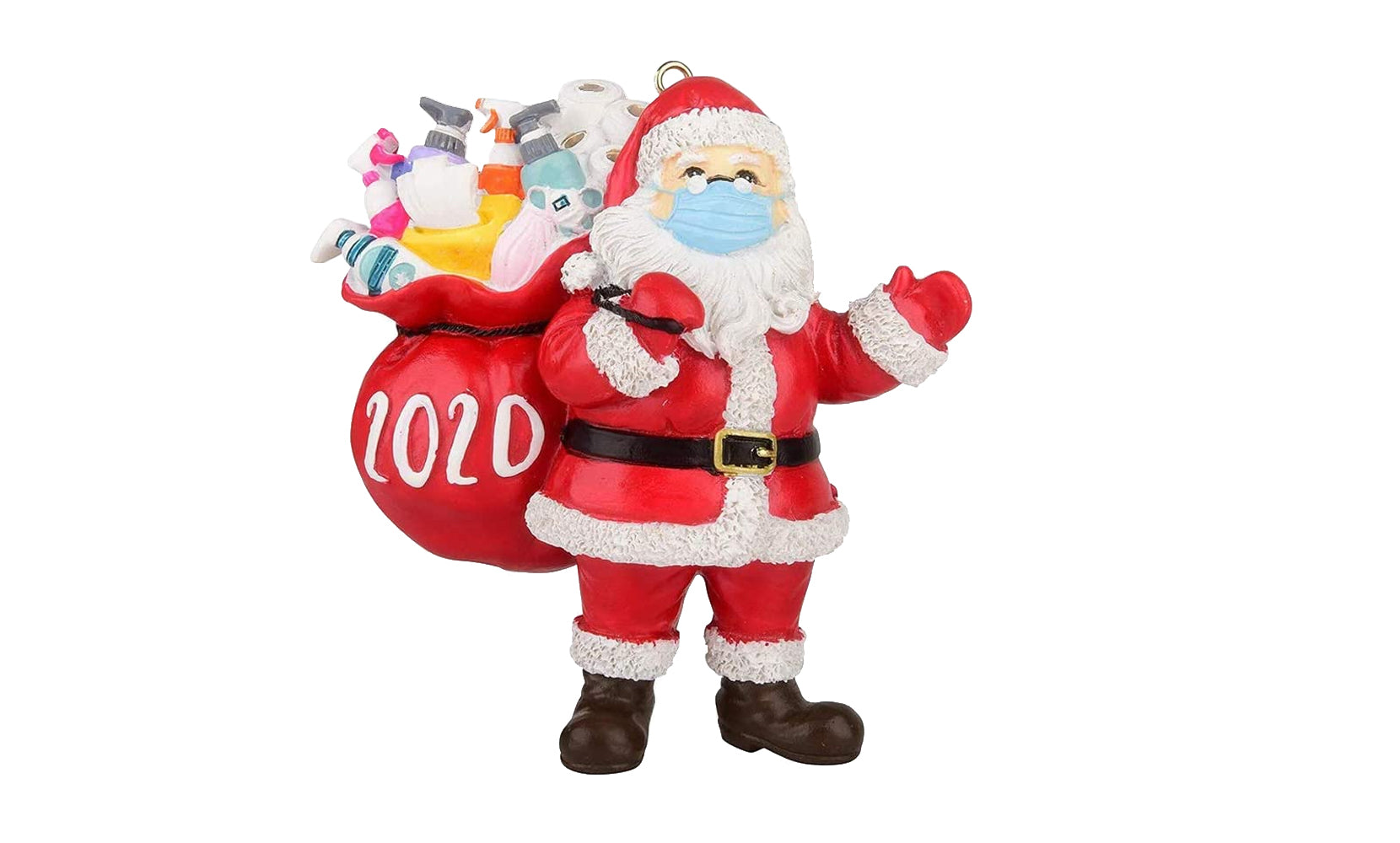 shopify-2020 Quarantine Survivor Santa Claus  Christmas Ornaments Wearing Mask and Carrying All Essentials-1