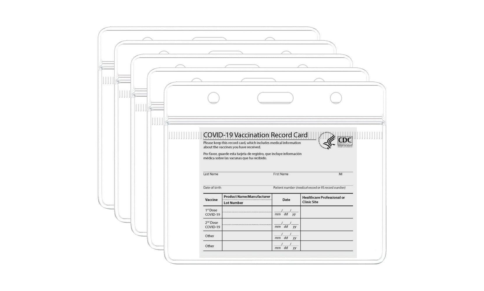 shopify-5-Pack: Waterproof Clear Sleeve CDC Vaccination Card Immunization Record Holder-1