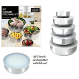 10 Piece Stainless Steel Bowl and Lids Ultimate Food Storage Set