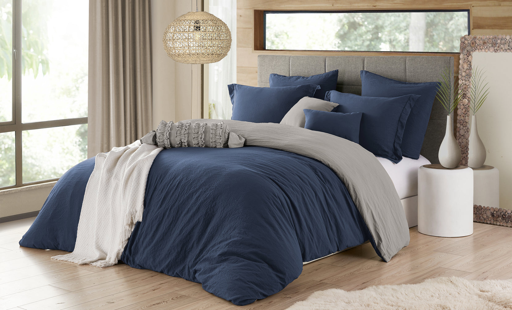 Reversible Crinkle Duvet Cover Set (2- or 3-Piece)