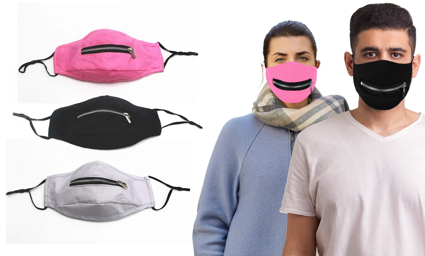 3-Pack: Zipper Reusable Cotton Face Mask for Everyday Use