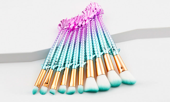 10-Piece Set: Pretty & Perfect Mermaid  Makeup Brushes