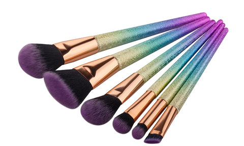 6-Piece Set: Rainbow Makeup Brushes