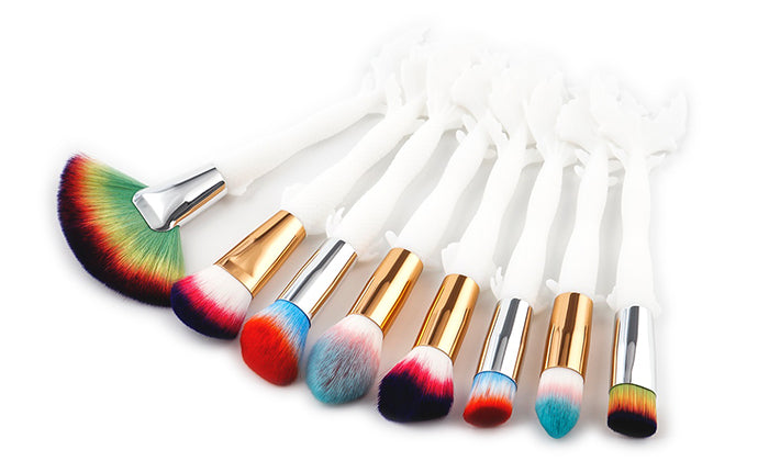8-Piece Set: Rainbow Fishtail Makeup Brushes