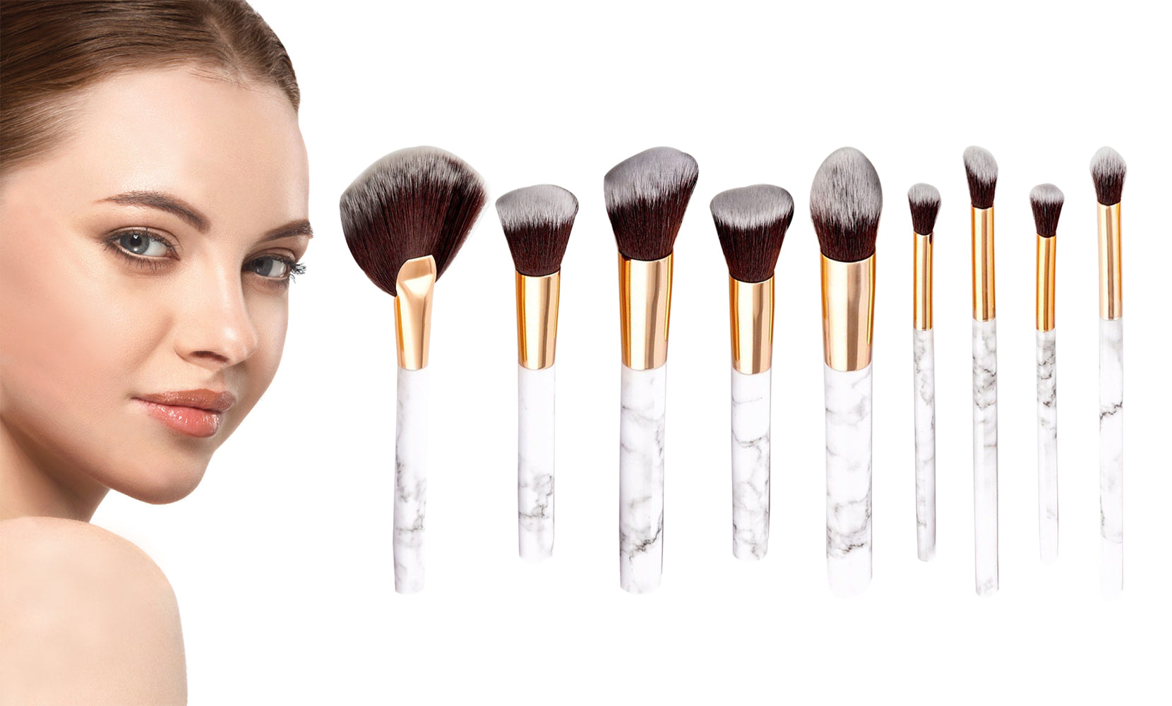 9-Piece Set: Professional Marble-Look Makeup Brushes
