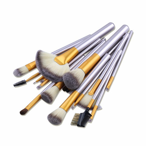 12 - 18 - or 24 - Piece : Professional Gold Dust-Colored Makeup Brush Set