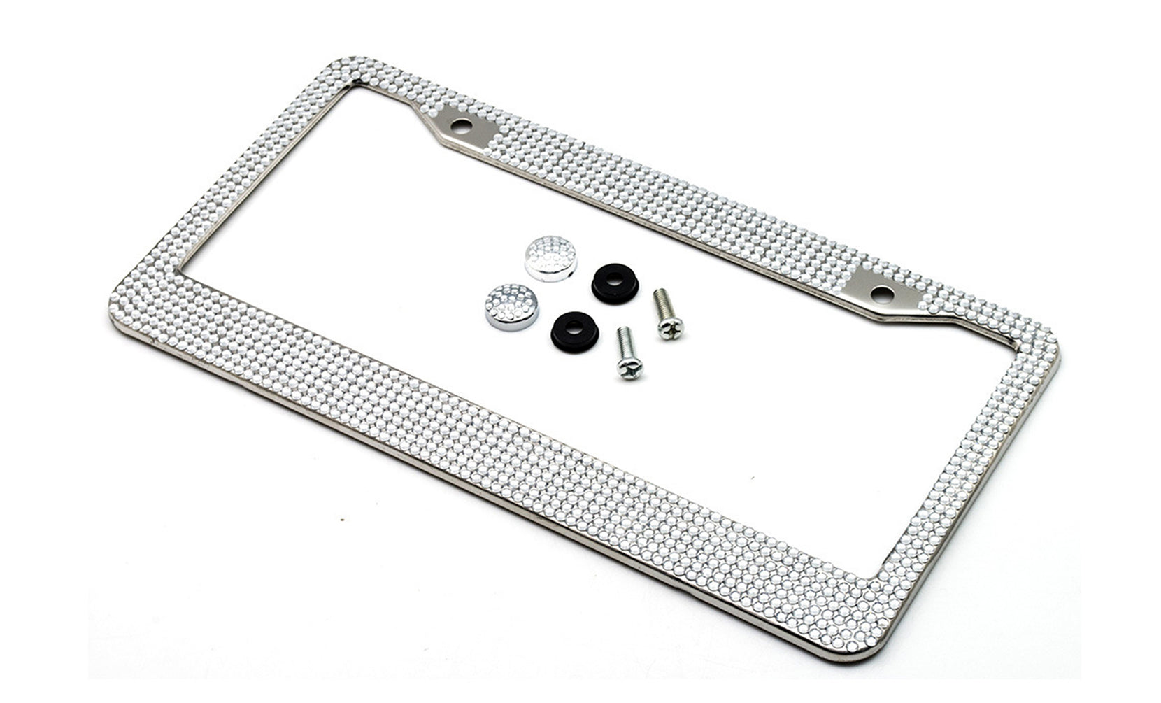 Metal License Plate Frame with Glitter Bling Rhinestone Diamonds (2-Pack)