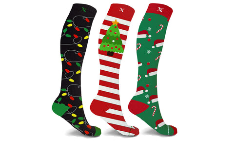 Holiday Cheer Knee High Compression Socks (3 or 6- Pairs)