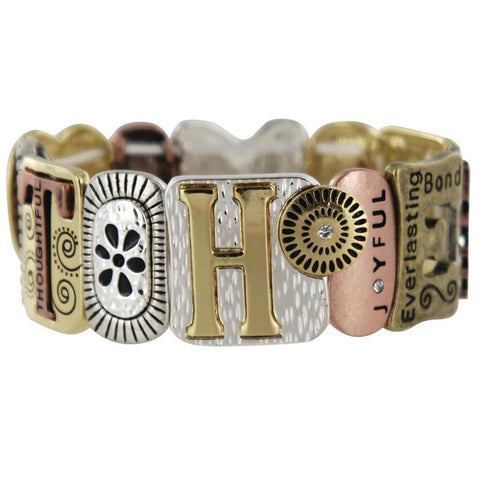 Mother Tri-Tone Stretch Bracelet