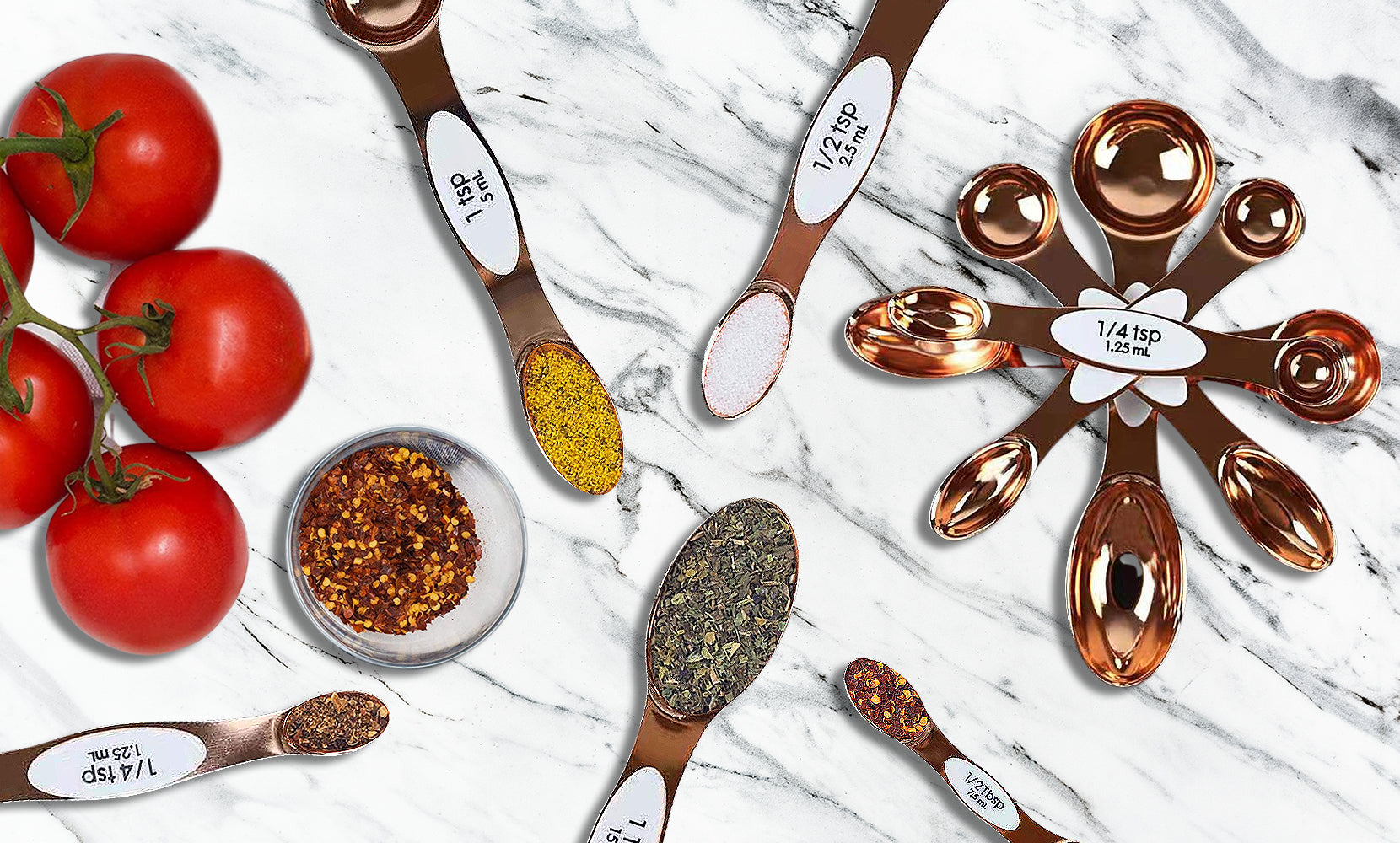 5-Piece: Copper Dual-Sided Stackable Magnetic Measuring Spoons Set