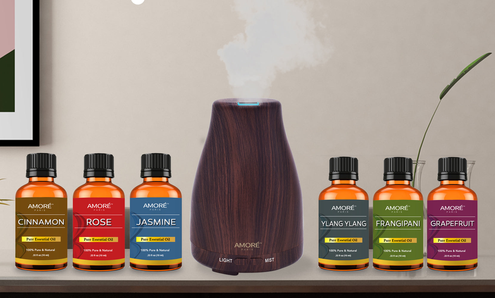 Natural Wood Grain Cool Mist Aromatherapy Diffuser  with Essential Oil Gift Set (7-Piece)