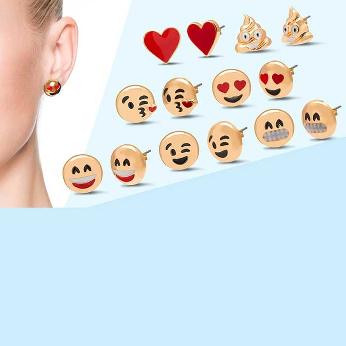 3- 5- or 7-Pack : Original Emoji Earrings