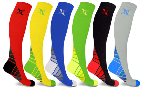 6-Pairs: Bright Knee High-Compression Socks