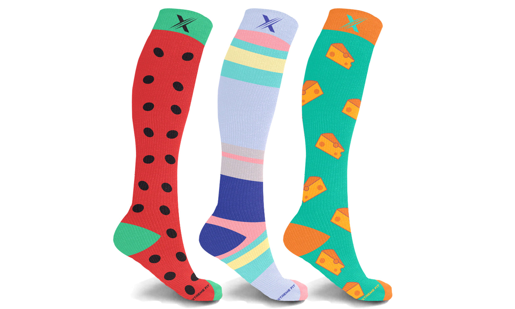 Unisex Fun and Expressive Compression Socks (3-Pairs)