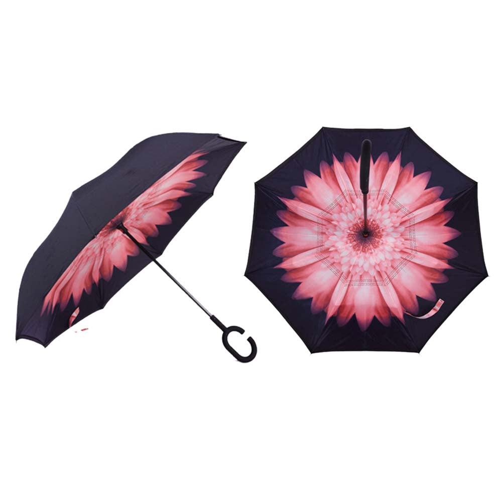 Double Layer Inverted Rubberized C-Shape Umbrella