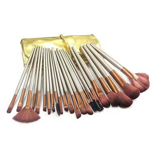 24-Piece : Professional Chocolate Gold Makeup-Brush Set with Leather Case