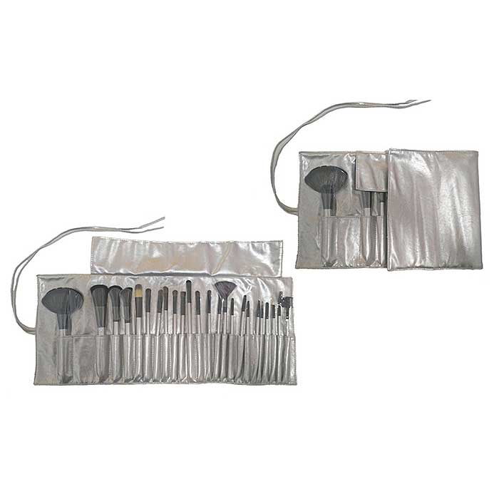 24-Piece : Professional Gunmetal Makeup Brush Kit with Roll-Up Carrying Case