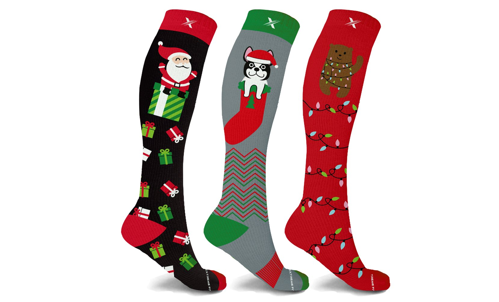 XTF Holiday Collection Knee-High Compression Socks (3-Pairs or 6-Pairs)
