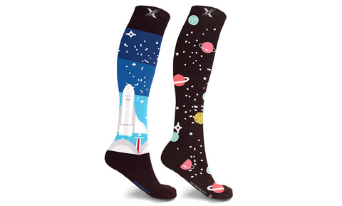 Mismatched Space Knee High Compression Socks (1-Pair)