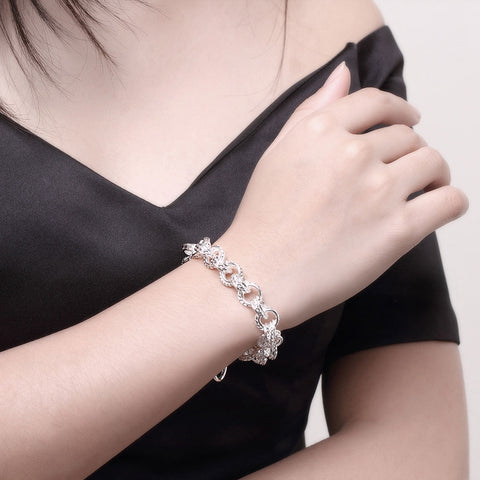 Silver Intertwined Mesh Knot Toggle Clasp Bracelet