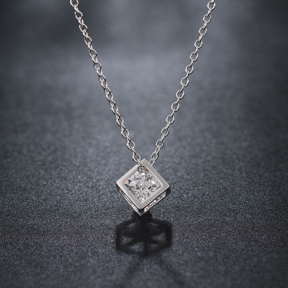 Silver White Crystal Cube Necklace