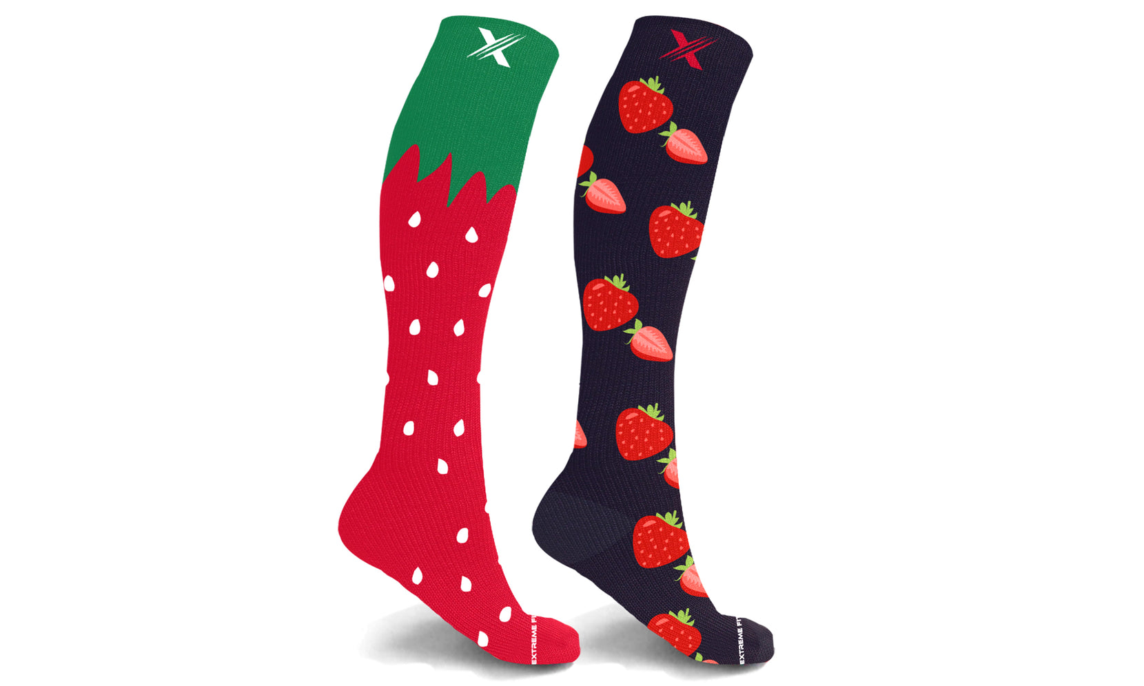 Mismatched Strawberry Knee High Compression Socks (1-Pair)