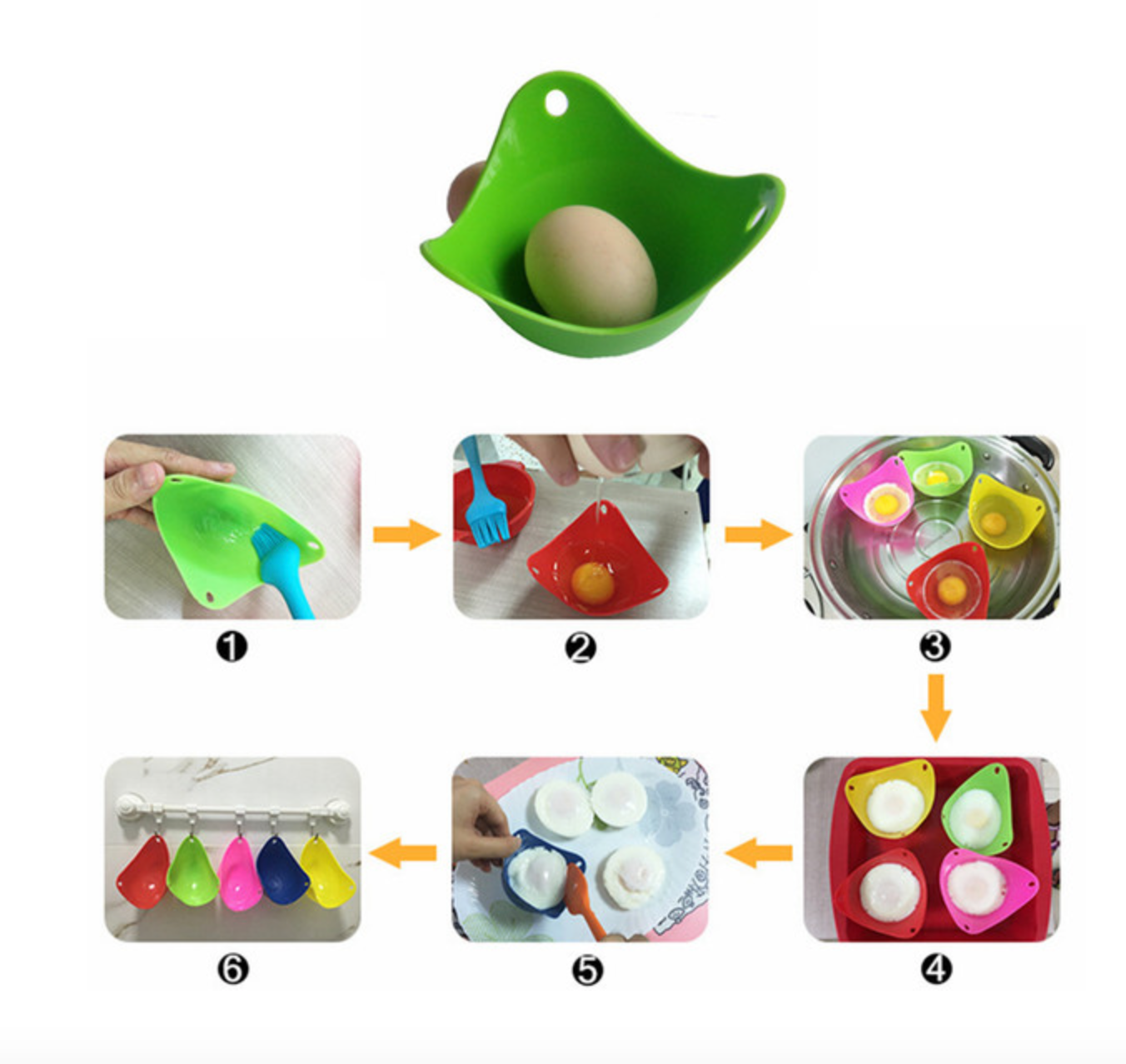 6-Pack: Silicone Egg Poachers