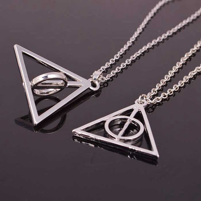 Silver Deathly Hallows Necklace, HP Inspired, Fandom Necklace, Potter fan!
