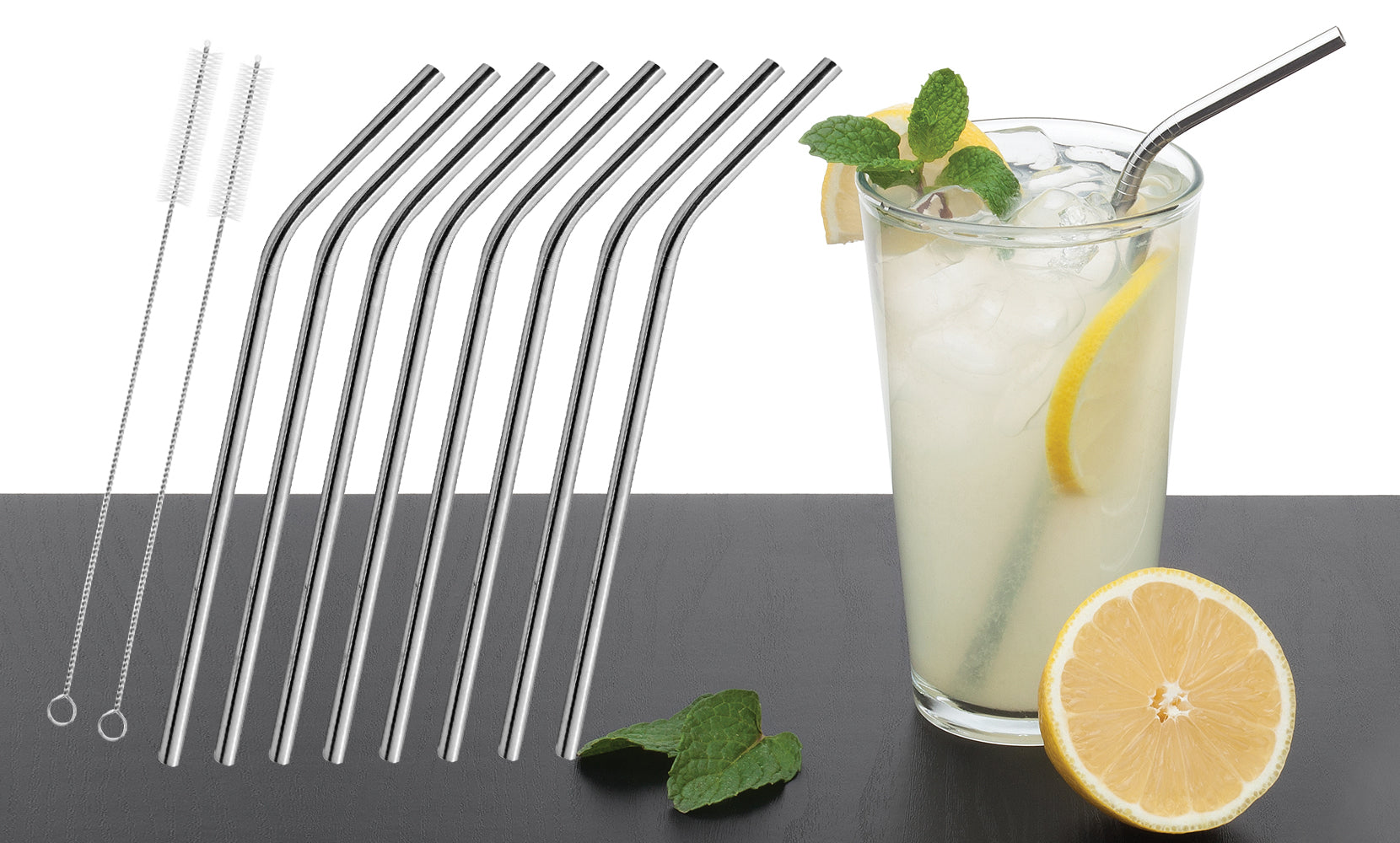 Stainless Steel Bent or Straight Drinking Straws (5- or 10-Pack)