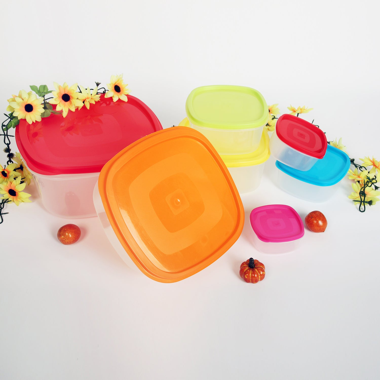 14-Piece Multi-Color BPA Free Food Storage Container Set - Square