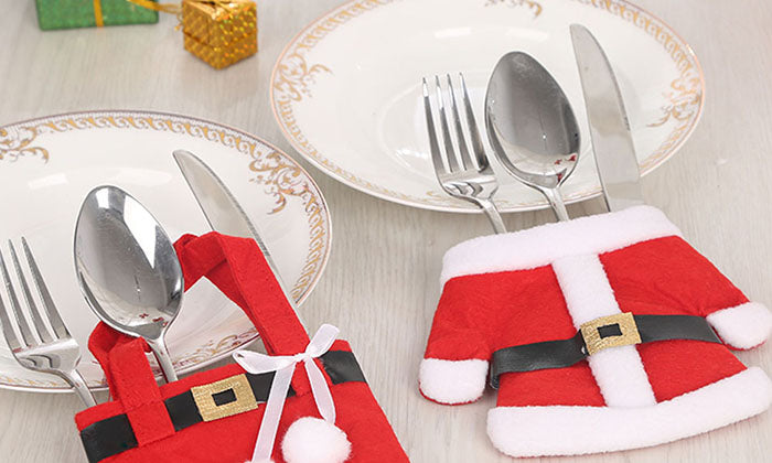 6-Pack: Santa Claus Cutlery Holder Socks