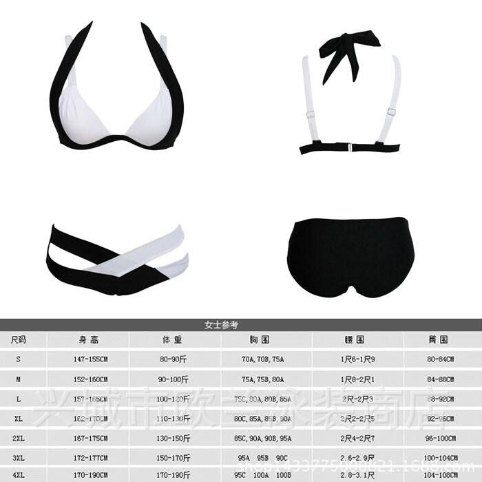 Women's Color Block Bandage Push-Up Bikini