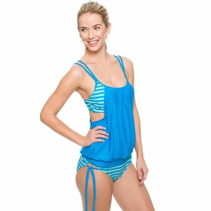 Sexy Spaghetti Strap Wireless Padding Braces Printing Two Pieces Swimsuit