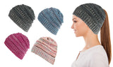 Women CC Fun Warm Winter Ponytail Beanie Hat Cap