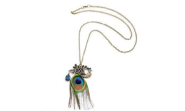 Vintage-Style PEACOCK Statement Necklace