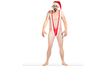 2-Piece: Men's Tempting Borat Style Christmas Santakini with Hat Set