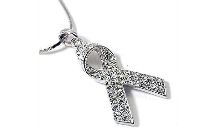"""Swarovski"" Crystal Breast Cancer Ribbon Pendant & Necklace Set‏"