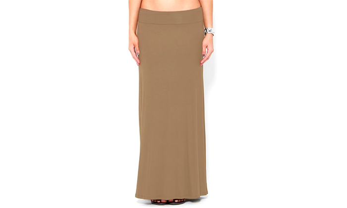 3-Pack Fold-Over High Waisted Comfy Maxi Skirts