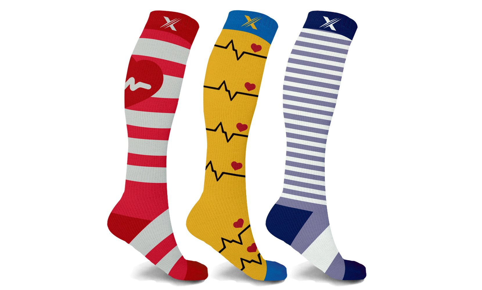 XTF Medical Prints Knee-High Compression Socks (3-Pairs or 6-Pairs)