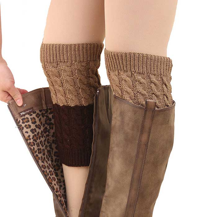 Two Tone Reversible Boot Cuff Socks with Button Down