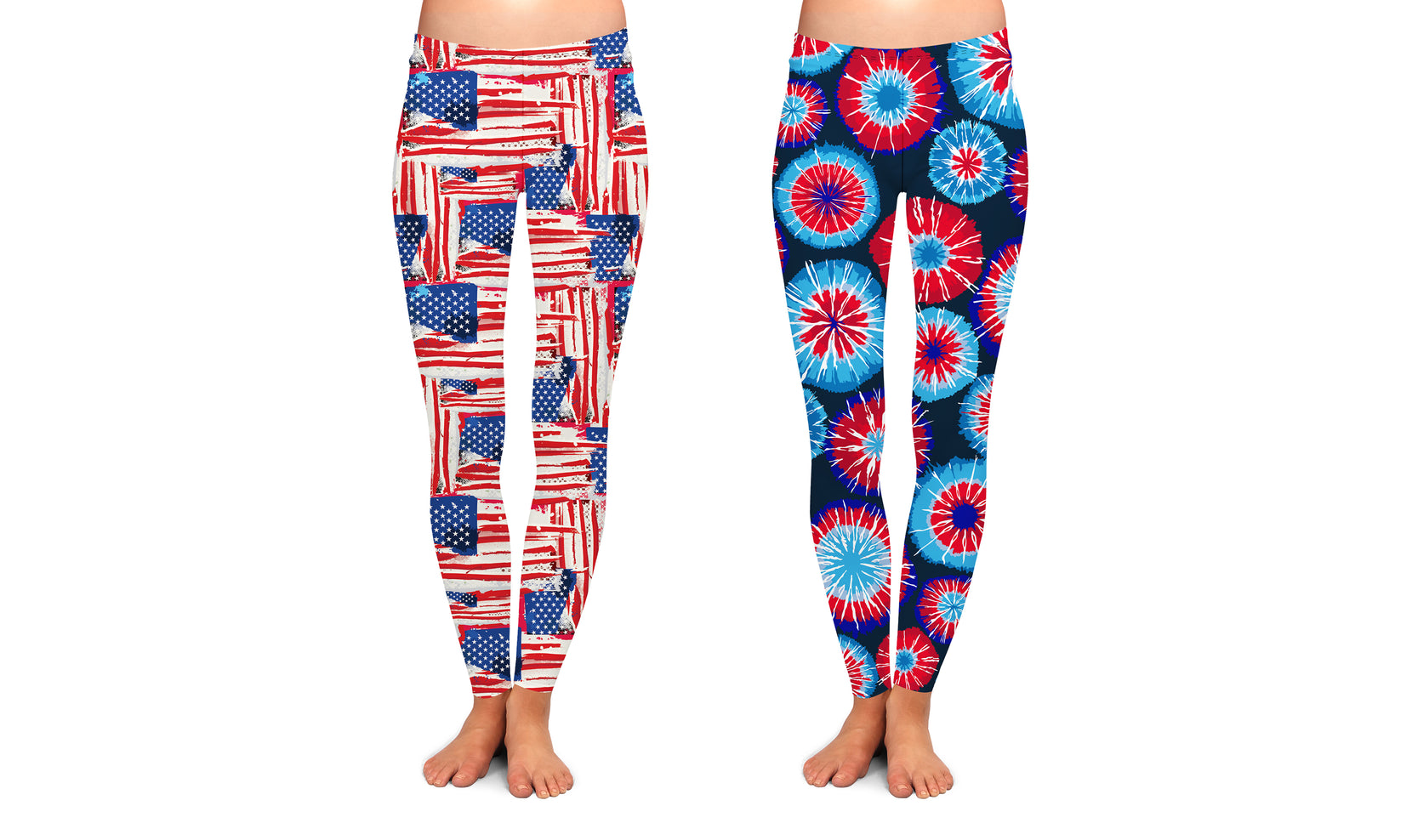 2-Pack: Women's Ultra Soft Red,White and Blue Patterned Leggings